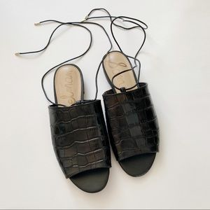 Sam Edelman black croc lace up sandals Sz 6.5